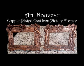 Vintage Picture Frames  -Copper Plated Cast Iron With Easel Back (No Glass)