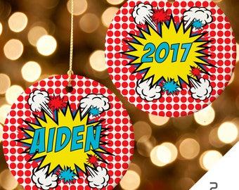Boys Ornament, Superhero Ornament, Boys Gift, Custom Superhero Christmas Ornament, Comic Book Ornament, Superhero Decor, Holiday Ornament