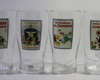 RERSERVED for MAURA Vintage full set of (4) + (2) =(6)  Guinness Heritage Pint Glass Set (Zoo Series) -  Breweriana