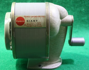 """Vintage Apsco products  Wall Mount """"Giant"""" Type III A cutter assembly Pencil sharpener Los Angeles California"""