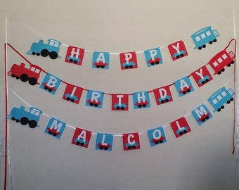 Choo choo look who's two personalized train birthday banner
