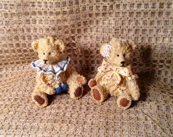 Pair of Teddy Bear Figurines - Circus, Carnival Clown Bears - Boy with Ruffled Collar, Girl with Polka Dot Bow - Baby Room, Nursery