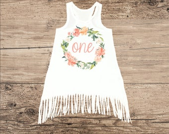 Birthday Dress for One Year Old, First Birthday Outfit, Boho Fringe Dress