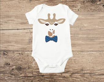 Giraffe Baby Clothes, Sweet Baby Bodysuit with Bow Tie