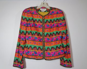 Colorful Print Cropped Silk Blazer Jacket with Shoulder Pads, 90s Retro Fashion