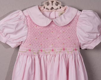 Vintage Copper Key Pink Smocked Dress, 1980's Size 4 Classic Smocked Dress