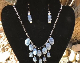 Blue Jean Baby Necklace and Earring Set