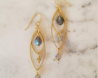 Labradorite on brass dangle earrings