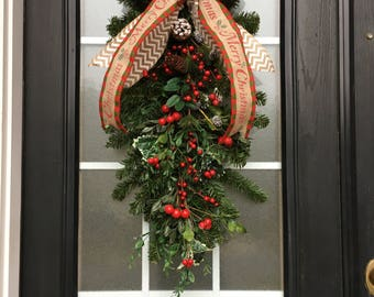Christmas Swag Pinecone And Berry Greenery Rustic Door Decoration With Burlap Bow