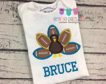 Turkey Football Baby Outfit - Baby Thanksgiving Outfit - Thanksgiving Shirt - Turkey Shirt - Football Shirt - teal and gold - Boy