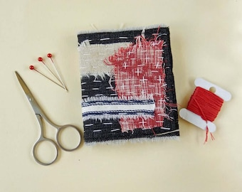 Needlebook, Needlecase - Denim , Hand Stitched, Sewing Gift, Black, Red