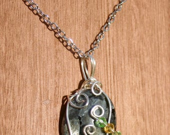 Shimmering Larvikite Wire Wrap Crystal Necklace