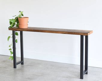 Reclaimed Wood Industrial Console Table / H-Shaped Metal Legs