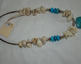 T-9 Native American Necklace, Silver ??, Turquoise stones,