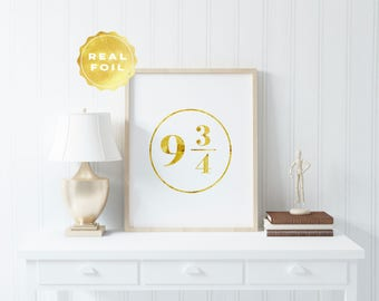 Harry Potter 9 3/4 Print - Platform 9 3/4 - Gold Foil - Harry Potter Wall Art - Harry Potter Decor - Potterhead - Harry Potter Fandom