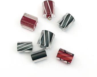 7 furnace glass beads hand blow red black and grey  # PV152