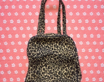 vintage 90s leopard print handbag / chester handbags / faux fur fuzzy purse tote bag