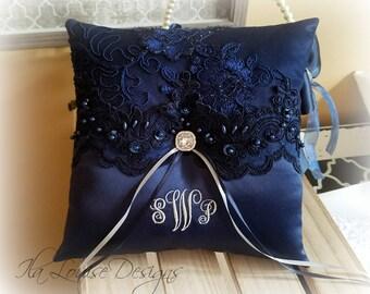 Ring Bearer Pillow Navy,  Navy Ring Bearer Pillow, Monogrammed Ring Bearer Pillow, Personalized Ring Pillow, Blue Ring Pillow