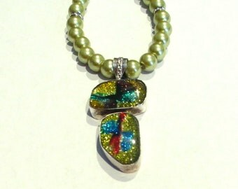 Green Dichroic Necklace, Sterling Silver Green Dichroic Pendant & Glass Bead Necklace