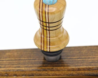 Exotic Wood Bottle Stopper, Handcrafted Wine Topper, OOAK Woodgrain Stainless Steel Oil Bottle Stoppers