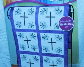Janlynn Stamped Quilt Blocks Victorian Cross #999-7196 Lap Quilt New