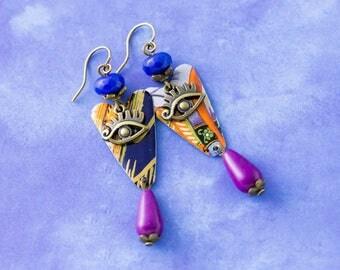 Vibrant Bohemian Evil Eye Vintage Tin Earrings with Purple Drop Beads and Cobalt Blue Beads, Boho Jewelry