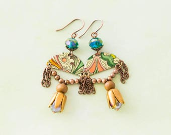 Green and Copper Half Circle Earrings with Chain Tassels and Tulip Bead Caps, Bohemian Jewelry