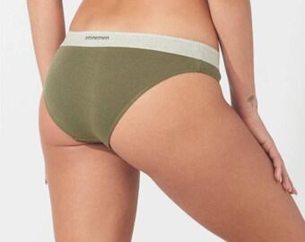 Women's Cotton Cheeky Brief Underwear in Army Green