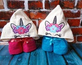 Peeker Unicorn head with flowers crown Applique Machine Embroidery Design.  Hooded Towel unicorn head embroidery design. Instant download.