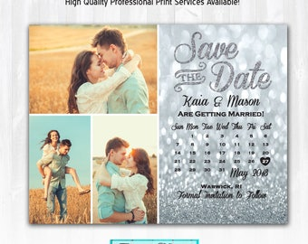 Silver Glitter Save The Date Magnet or Card DIY PRINTABLE Digital File or Print (+) Glitter Calendar Save The Date 3 Photo Save The Date