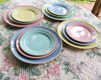 16  Pastel Lu-Ray Dinner Plates, Salad Plates and Bread Plates - Aqua, Blue, Pink and Yellow Set of 16 Vintage Taylor Smith and Taylor