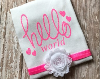 Baby Girls Coming Home Outfit,  Baby Shower Gift Set, Infant Bodysuit & Bow , Glitter Pink Hello World Onesie and Headband,  Newborn, Baby
