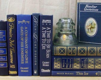 Decorative MIXED BLUES Book Lot Instant Library Decor Blue Book Stack Home Staging Photography Prop