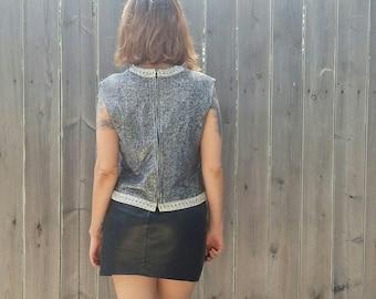 1960s Vintage Metallic Silver Sleeveless Zip Up Blouse