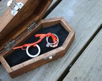 Wood Coffin Box Custom Wedding Ring Pillow
