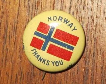 WW II Era Norway Thanks You Pin Back Button - Free Shipping