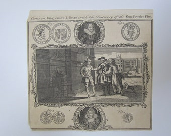 Mid 18th Century Coins In King James I Reign With Discovery Of The Gun Powder Plot Engraving For Universal Magazine For T Hinten