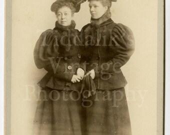 Cabinet Card Photo - Portrait 2 Victorian Woman with Big Coats - James Burgess of Egham England