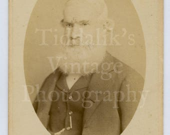 CDV Carte de Visite Photo Old Victorian Man with Huge White Beard Faded Portrait - Russell & Sons of Littlehampton England - Antique Photo