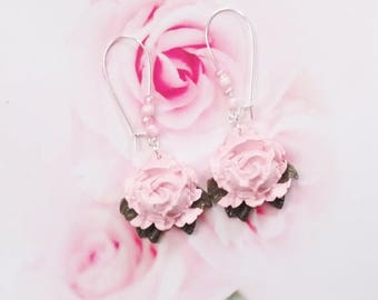 earrings romantic roses polymer clay