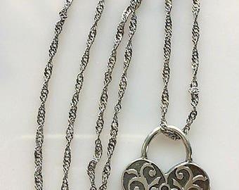 Sterling Silver Heart Lock Charm Pendant Necklace - Heart Padlock Pendant Necklace