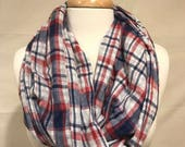 Infinity Scarf- Red, White, and Blue Cotton Plaid