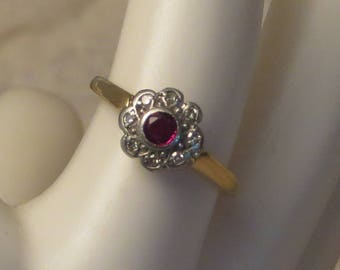 Vintage retro Art Deco style 18k solid gold platinum Steele and Dolphin Birmingham England ruby pave diamond gem stone ring size 6