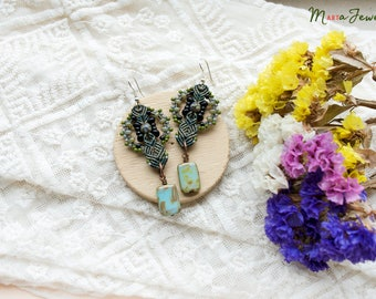 Rustic macrame earrings,  beaded, Picasso glass, boho chic, tribal, beadwoven, beadwork, macrame jewelry, micro-macrame, olive green black
