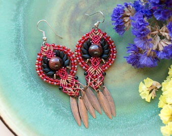 Macrame beaded earrings, black red brown, ox's eye gemstone, boho, tribal, dangling, micro-macrame jewelry, beadwork, Ukrainian traditional