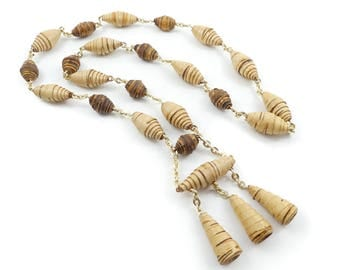 Vintage Wrapped Wood Bead Necklace