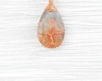 Tree of Life wire wrapped Jasper stone pendant
