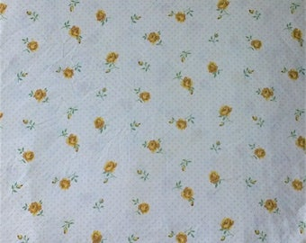 Cannon White & Yellow Rose Floral Polka Dot Print King Size Fitted Bed Sheet