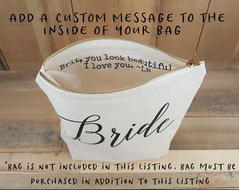 Add Custom Message, Add Custom Name, Personalized, Personalized Gift, Personalized Make Up Bag, Personalized Travel Bag, Custom Message
