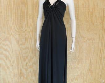 Vintage 1970's RAGS by KRESSANDRA Black Sequins Deep V Plunge Halter Maxi Dress Small